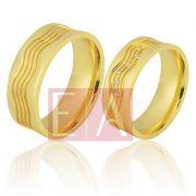 Alianças Ouro Casamento Noivado 18k Quadrada Polida 7mm 17 gramas o Par
