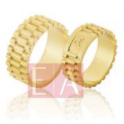 Alianças Ouro Casamento Noivado 18k Quadrada Polida 8mm 20 gramas o Par