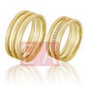 Alianças Ouro Casamento Noivado 18k Quadrada Polida Acetinada 7 mm 11 gramas