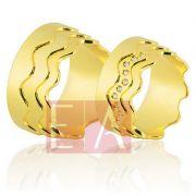 Alianças Ouro Casamento Noivado 18k Quadrada Polida Brilhantes  11 mm  28 gramas