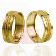 Alianças Ouro Casamento Noivado 18k Quadrada Polida Diamantada Oca 7mm  8 gramas