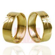 Alianças Ouro Casamento Noivado 18k Quadrada Polida Oca 7mm  6 gramas
