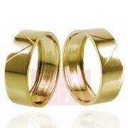 Alianças Ouro Casamento Noivado 18k Quadrada Polida Oca 7mm  7 gramas