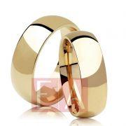 Alianças Ouro Casamento Noivado 18k Redonda Abaulada Lisa 7mm 13 Gramas o Par