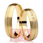 Alianças Ouro Casamento Noivado 18k Redonda Anatômica Pedra Zircônia 5mm 6 Gramas