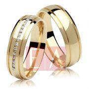 Alianças Ouro Casamento Noivado 18k Redonda Anatômica Pedra Zircônia Cravejada 6mm 11 Gramas