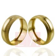 Alianças Ouro Casamento Noivado 18k Redonda Oca 7mm 6 Gramas