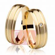 Alianças Ouro Casamento Noivado 18k Redonda Pedra Zircônia Anatômica 6mm 9 Gramas