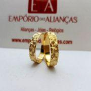 Alianças Ouro Casamento Noivado 18k Trabalhada Estrela 4mm 3 Gramas o Par