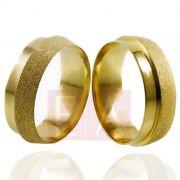 Alianças Ouro Casamento Noivado 18k Trabalhada Fosca Diamantada 7mm e 10 gramas o Par