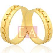 Alianças Ouro Noivado Casamento 18k Batimento Cardíaco 5mm 8 Gramas Quadrada