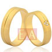 Alianças Ouro Noivado Casamento 18k Brilhante Coração Quadrada 5mm 10 Gramas