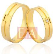 Alianças Ouro Noivado Casamento 18k Quadrada Brilhante 5mm 7 Gramas Trabalhada