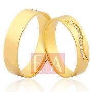 Alianças Ouro Noivado Casamento 18k Quadrada Brilhante Desenhado 5mm 8 Gramas