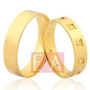 Alianças Ouro Noivado Casamento 18k Quadrada Brilhante Reta 5mm 8 Gramas
