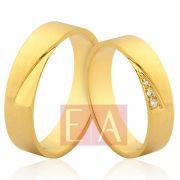 Alianças Ouro Noivado Casamento 18k Quadrada Brilhante Reta 5mm 9 Gramas