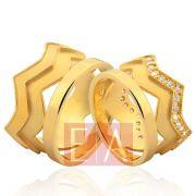 Alianças Ouro Noivado Casamento 18k Quadrada Coroa Brilhante Larga 13mm 20 Gramas