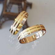Alianças Ouro Noivado Casamento 18k Quadrada Fosca Reta 5mm 6 Gramas o Par