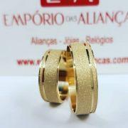 Alianças Ouro Noivado Casamento 18k Quadrada Fosca Reta 6mm 9 Gramas o Par