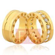 Alianças Ouro Noivado Casamento 18k Quadrada Larga Personalizada Brilhante Exclusiva
