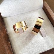 Alianças Ouro Noivado Casamento 18k Quadrada Lisa Pedra Zircônia Reta Larga Grossa 10mm 12 Gramas o Par