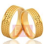 Alianças Ouro Noivado Casamento 18k Quadrada Trabalhada 6mm 8 Gramas Anatômica