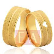 Alianças Ouro Noivado Casamento Quadrada Coração Vazado Fosca 7mm 10 Gramas Anatômica