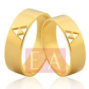 Alianças Ouro Noivado Casamento Quadrada Trabalhada 6mm 9 Gramas Triângulo