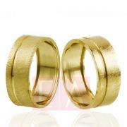 Alianças Ouro Noivado Casamento Trabalhada Quadrada Fosca 8mm 9gr Oca