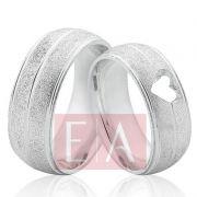Alianças Prata Compromisso Namoro Abaulada Coração Vazado Fosca Anatômica 7mm 10 Gramas