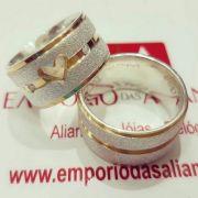 Alianças Prata Compromisso Namoro Banho Ouro Coração Vazado Pedra Zircônia 10mm 15 Gramas
