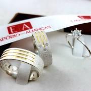 Alianças Prata Compromisso Namoro Banho Ouro Quadrada Pedra Zircônia 7mm 13 Gramas