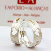 Alianças Prata Compromisso Namoro Quadrada Anatômica Zircônia Fosca Diamantada Coração Vazado 6mm 10 gramas Trabalhada