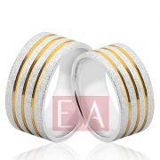 Alianças Prata Compromisso Namoro Quadrada Fosca Banho Ouro Anatômica 9mm 14 Gramas