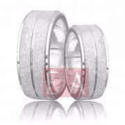 Alianças Prata Compromisso Namoro Quadrada Fosca Diamantada  8mm 16 gramas Anatômica Trabalhada