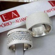 Alianças Prata Compromisso Namoro Quadrada Fosca Pedra Zircônia 12mm 26 Gramas o Par