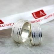Alianças Prata Compromisso Namoro Quadrada Fosca Trabalhada 8mm 14 Gramas o Par