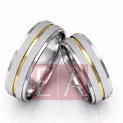 Alianças Prata Compromisso Namoro Quadrada Fosco Acetinado Banho em Ouro  7 mm 10 Gramas