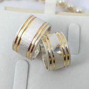 Alianças Prata Compromisso Namoro Quadrada Larga Banho Ouro 12mm 17 Gramas o Par Anatômica