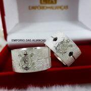 Alianças Prata Compromisso Namoro Quadrada Larga Grossa Fosca Anatômica Corinthians SCCP 10mm 20 Gramas o Par
