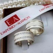 Alianças Prata Compromisso Namoro Quadrada Pedra Zircônia 10mm 17 Gramas