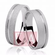 Alianças Prata Compromisso Namoro Quadrada Trabalhada Fosco Diamantada Friso 6mm 12 gramas Anatômica