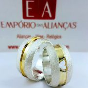 Alianças Prata Compromisso Namoro Redonda Banho Ouro Larga Fosca Anatômica 12mm 22 Gramas