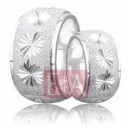Alianças Prata Compromisso Namoro Redonda Diamantada Reta 12mm 32 gramas trabalhada