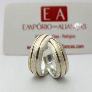 Alianças Prata Compromisso Namoro Redonda Fosca Banho Ouro 7mm 13 Gramas Anatômica