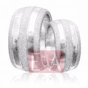 Alianças Prata Compromisso Namoro Redonda Fosca Diamantada Trabalhada Friso 12 mm 32 gramas