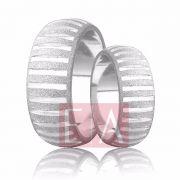 Alianças Prata Compromisso Namoro Redonda Fosca Diamantada Trabalhada Friso 8 mm 14 gramas