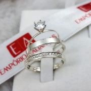 Alianças Prata Namoro Compromisso 3mm Cravejada