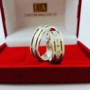 Alianças Prata Namoro Compromisso Quadrada Banho Ouro Anatômica Pedra Zircônia 7mm 15 Gramas