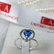 Anel Prata Feminino Coração Pedra Zircônia Azul
